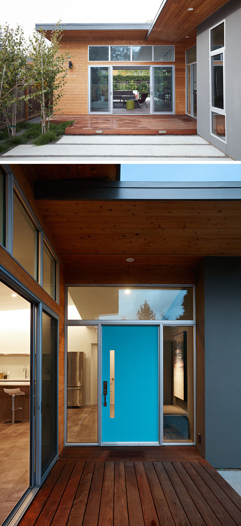 This renovated house has a small wood deck that guides you to the bright blue front door.