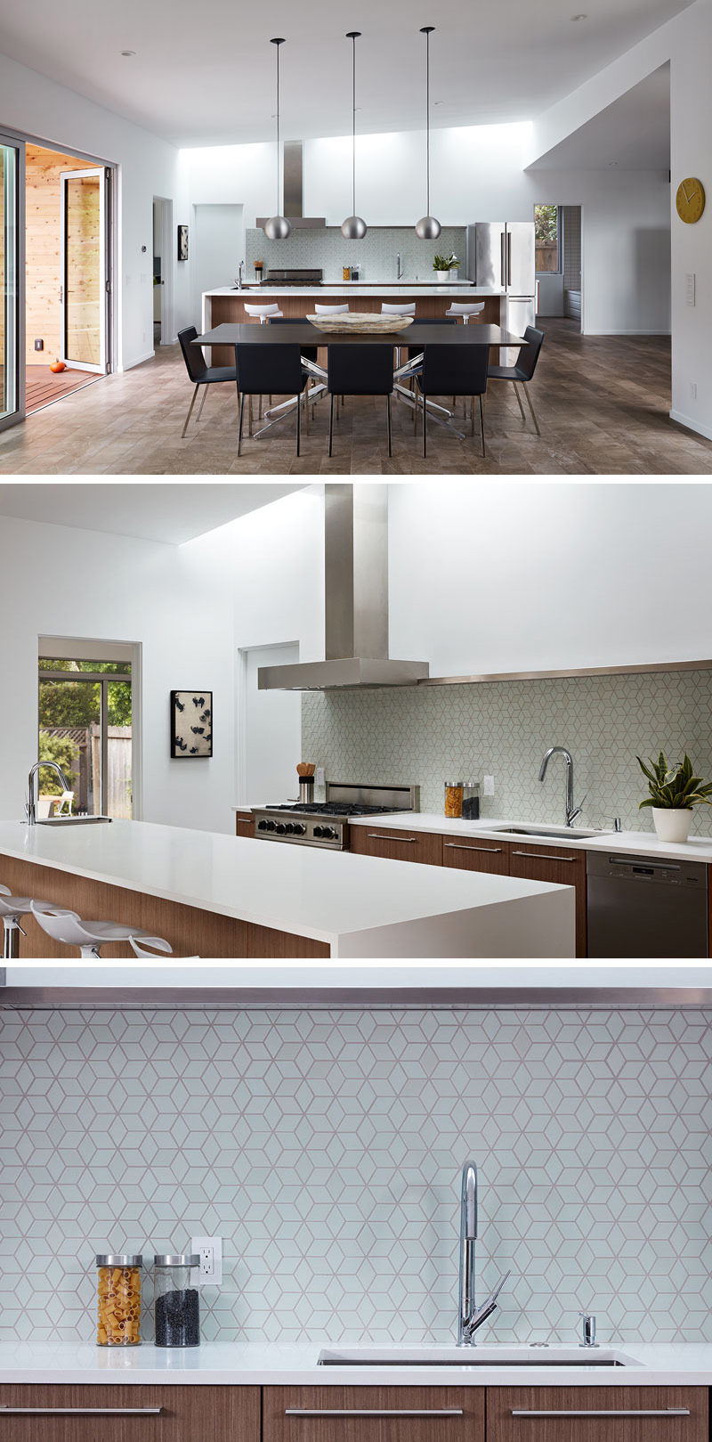 Inside this renovated house, the kitchen and dining area are separated by a large white and wood island that has a prep sink, which matches the white countertops and wood cabinetry. Light blue, geometric tiles have been used as a backsplash for a light touch of color.