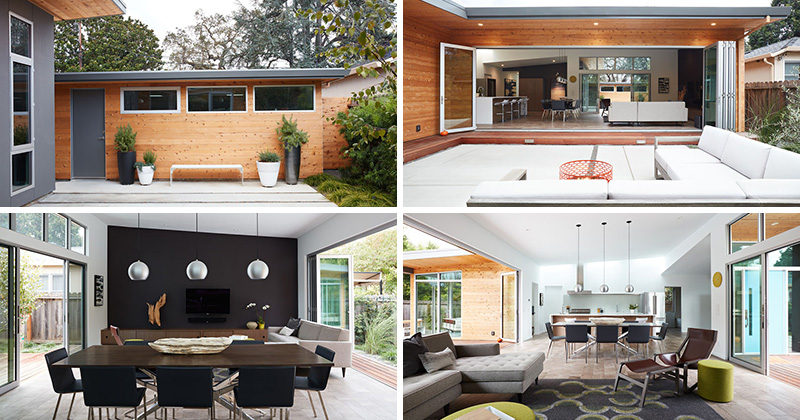 Klopf Architecture have remodeled a 1960s midcentury modern home in San Carlos, California, to be a more open, light, and indoor-outdoor, contemporary home.