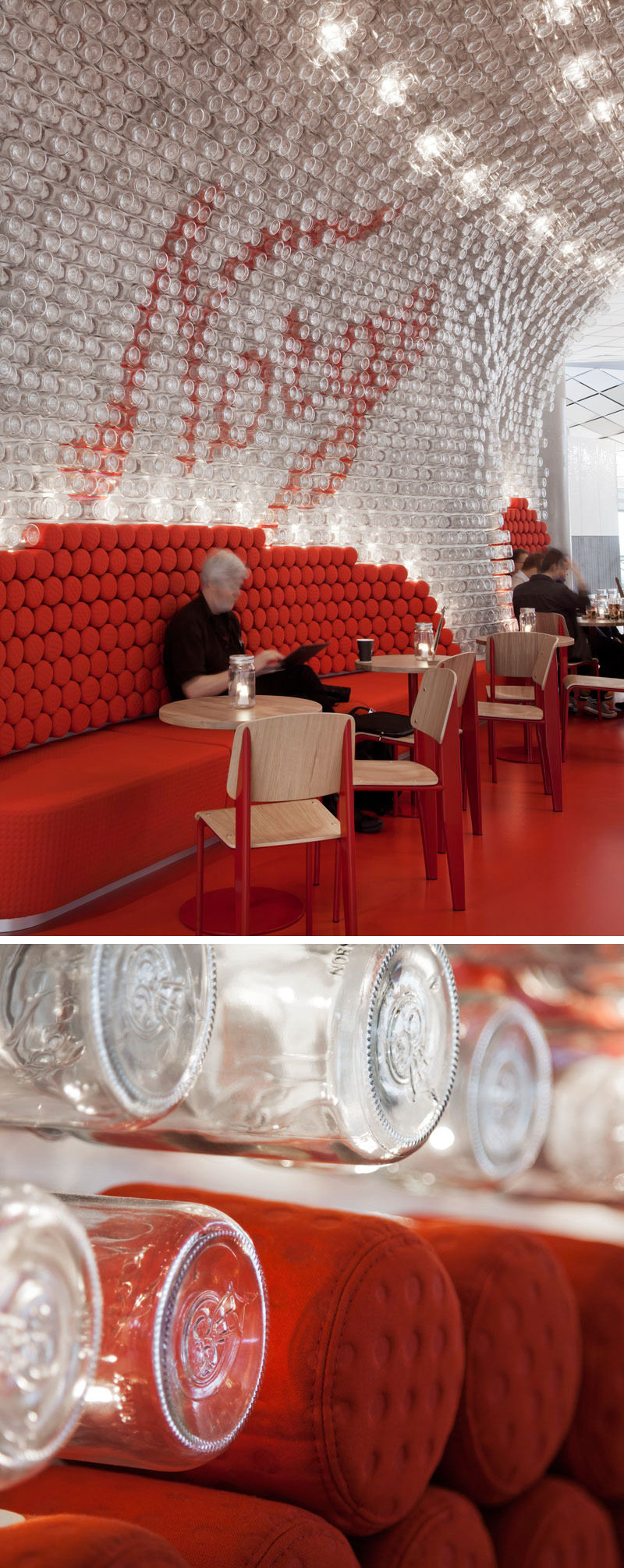 Over 4,000 glass jars were reused to the cover the ceiling and curved back wall of this modern airport bar in Oslo.