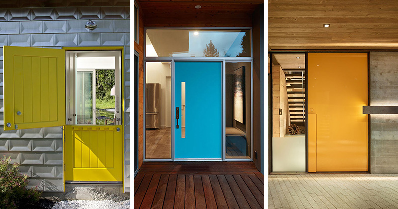 These modern front doors are unique and painted in different vibrant colors that make the houses & 7 Examples Of Colorful Doors That Brighten Up These Modern Homes ...