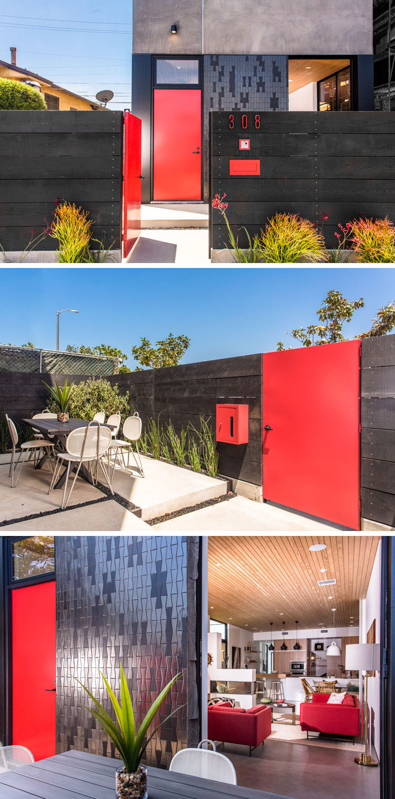 This modern house has two entrances that standout, one red gate leading onto the courtyard, and a red front door that leads into the home.