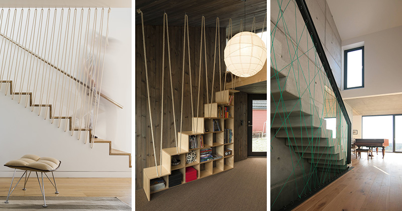 These Modern Sets Of Stairs Feature Various Types Rope That Are Used As Safety Railings