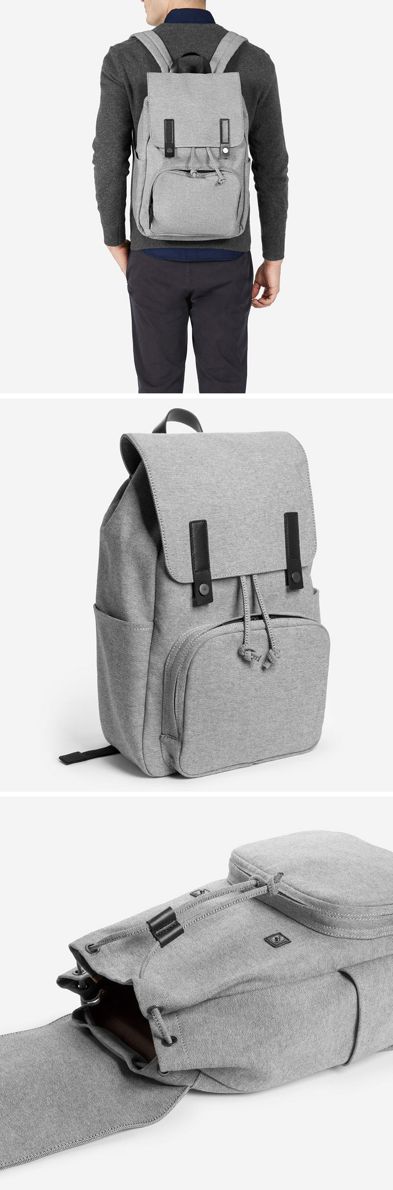 This modern grey backpack has all the components of the perfect everyday bag - comfortable straps, ample storage, and water-resistant material on the exterior to keep all your things protected.