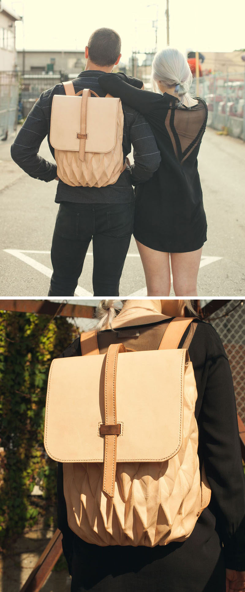 This backpack is made from vegetable tanned leather and was designed with versatility in mind. The origami folding system used on the body of the bag allows it to expand and contract as necessary to accommodate for both large and small objects.