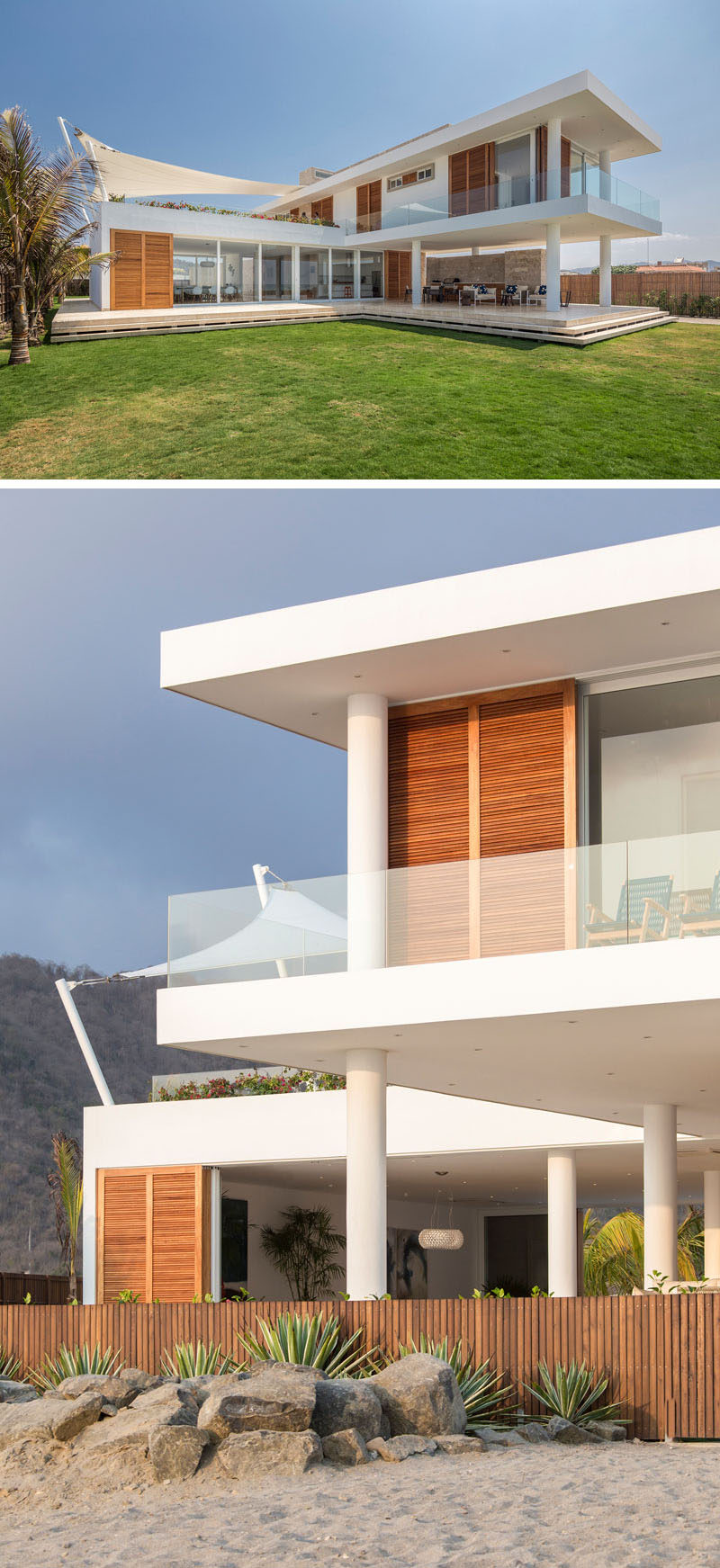 The placement of this modern beach house house allows it to have a large lawn and direct access to the beach.