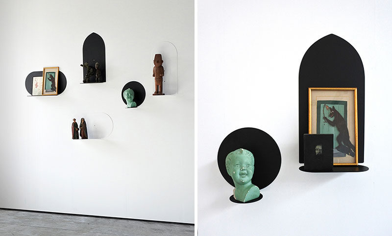 The Aureole (Halos) shelving collection by Belgian designer Nicolas Bovesse, is a group of minimalist floating shelves made from lacquered steel and available in both black and white as well as various shapes.