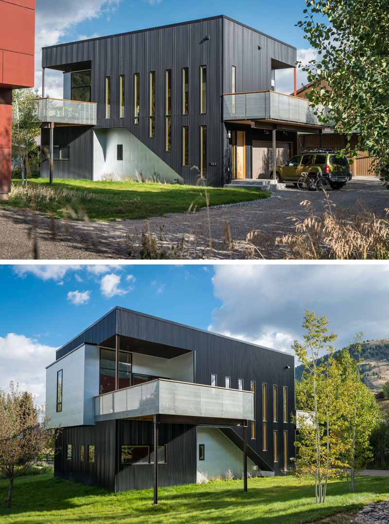 the black exterior siding of this modern home suits its industrious style - Modern Home Exterior Siding