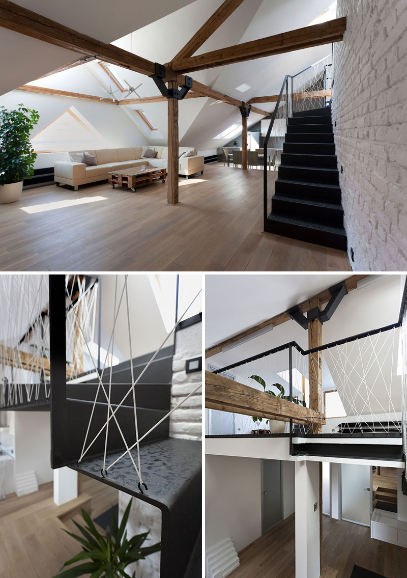 Superieur The White Rope Zig Zagging Up The Banister Of These Black Steel Stairs  Creates An Industrial Look Consistent With The Other Industrial Elements In  The Loft.