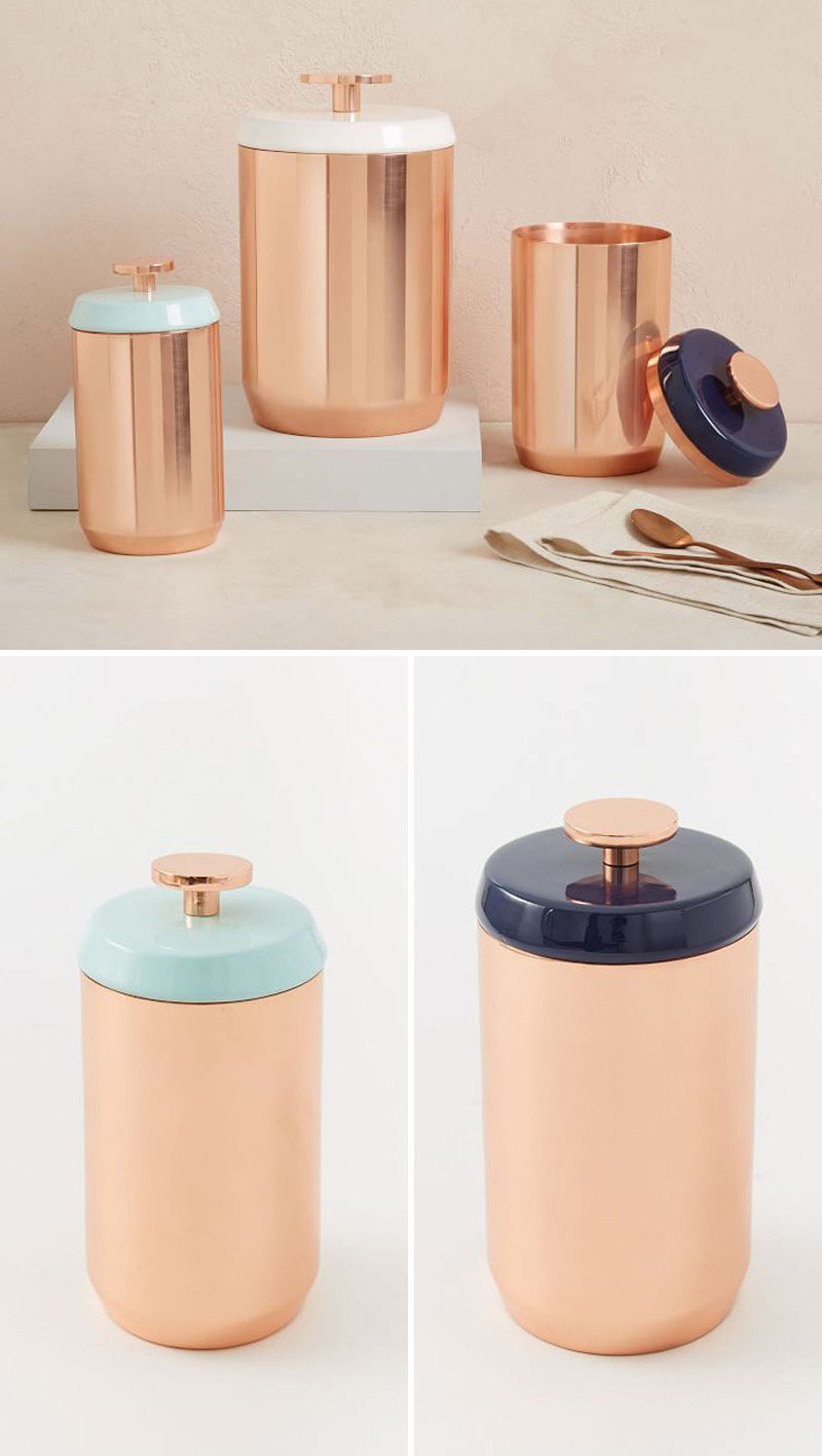 With the ability to jazz up any kitchen, these modern copper canisters have different colored enamel lids with easy to use knobs.