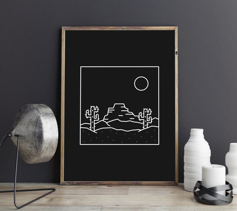 This simple modern desert print features the main elements found in the desert and is perfect for minimalist interiors. #HomeDecor #ModernHomeDecor #Cacti #Cactus #CactiDecor
