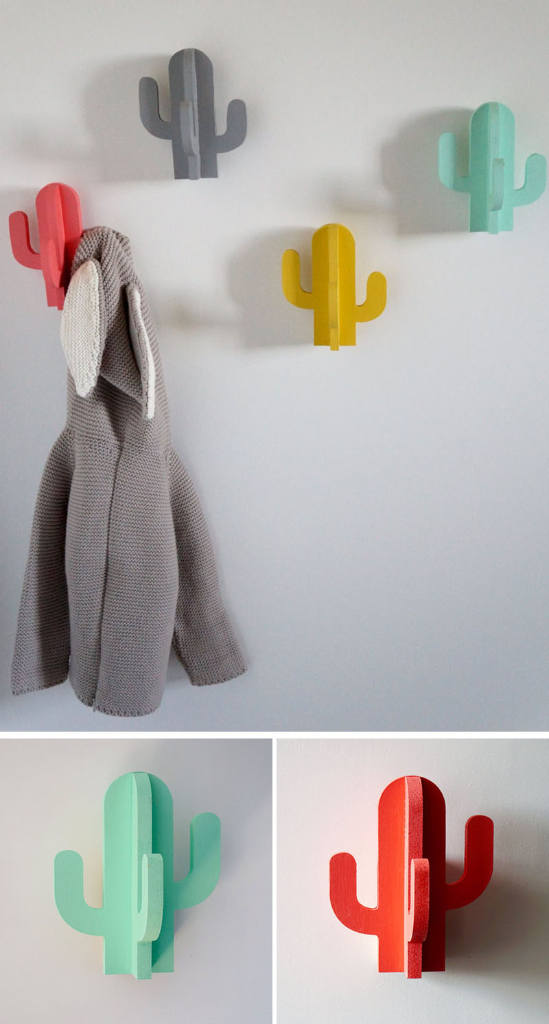 These modern brightly colored cacti wall hooks bring in a whimsical element to your interior and help add functionality to your walls.