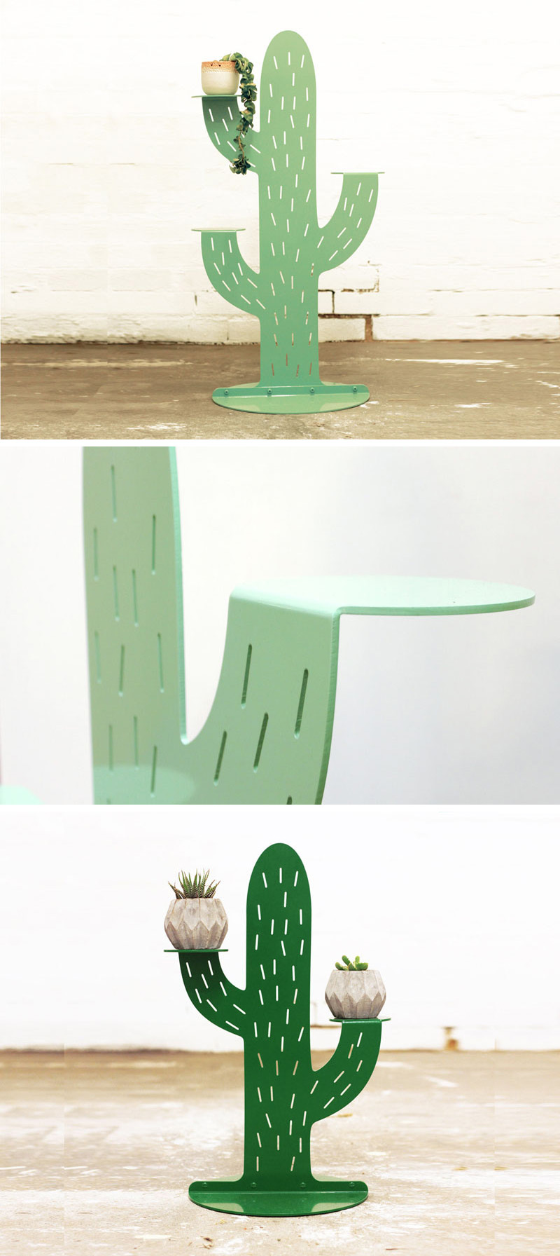This green metal cacti plant stand might not need watering but the plants they're holding will!