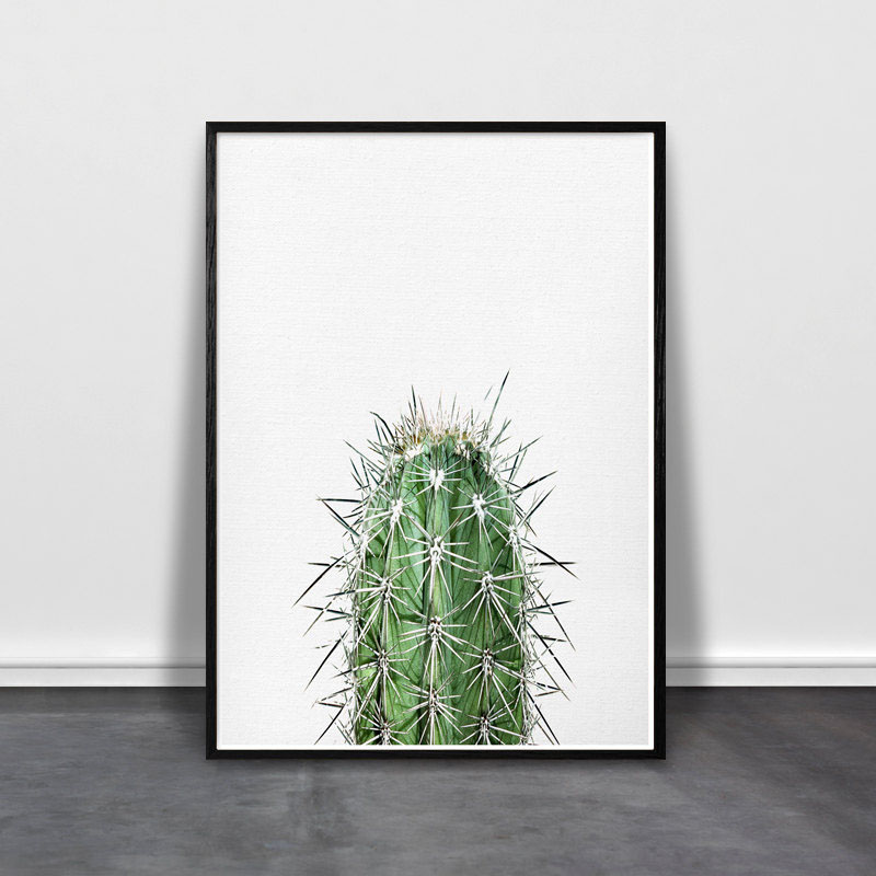 You don't have to worry about keeping this modern cactus print alive in your home decor.