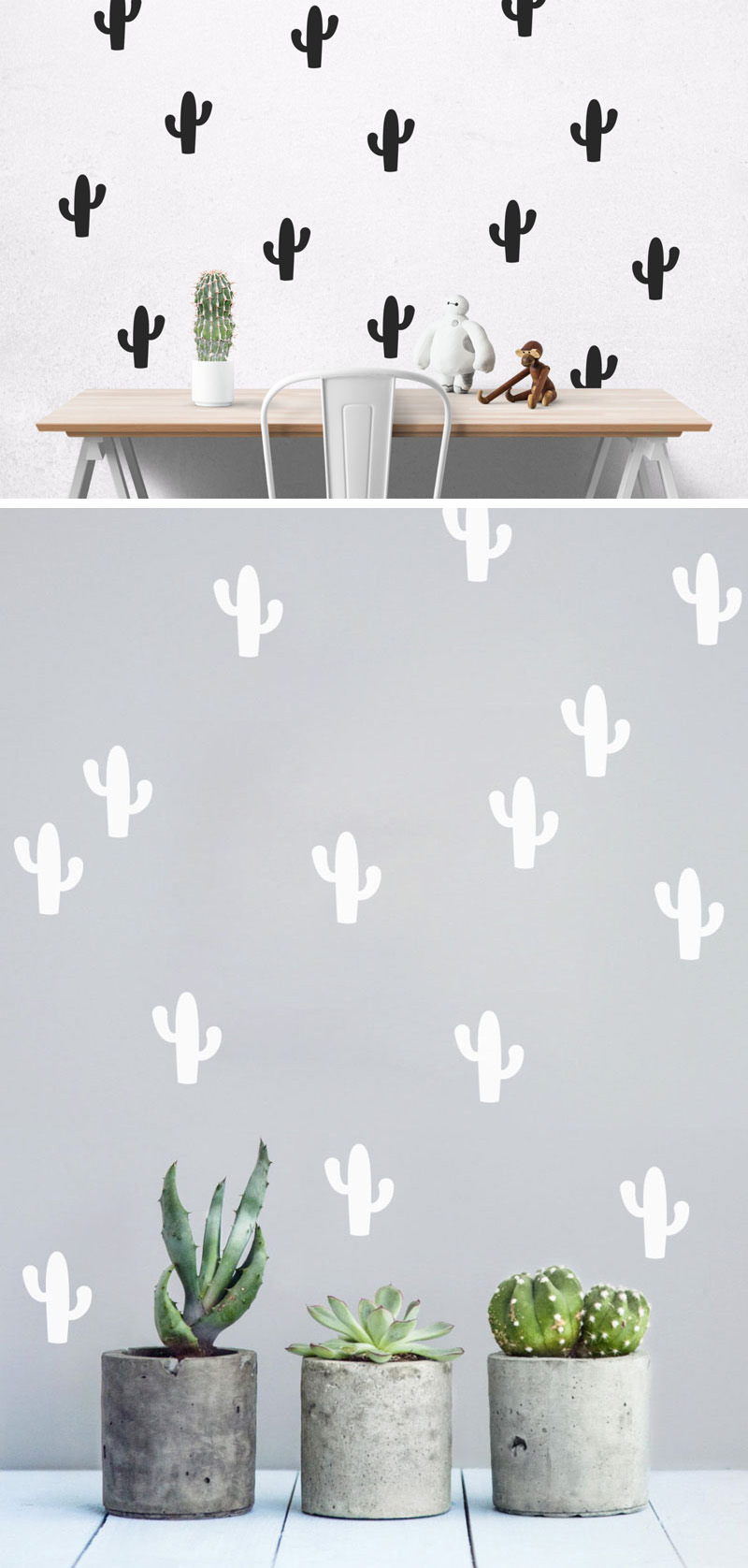 These modern cacti wall decals bring fun to your interior and are an easy way to decorate your walls without leaving marks or holes.
