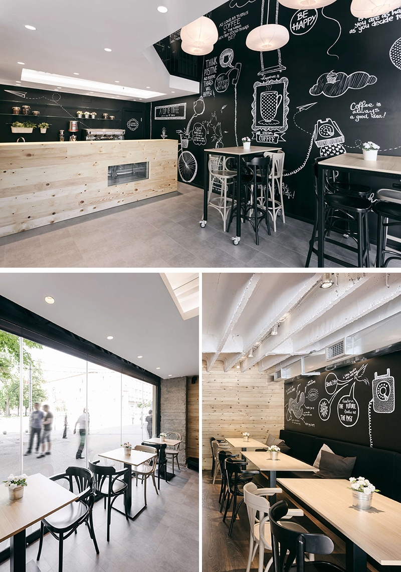 10. Arhitektura Budjevac Designed Stock Coffee, A Multilevel Coffee Shop In  Niš, Serbia That Features Original Hand Drawn Illustrations And A Simple  Palette ...