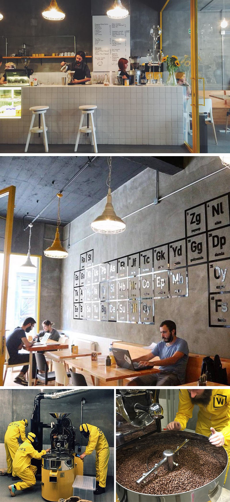 Walter's Coffee Roastery is a modern cafe in Kadikoy, Istanbul inspired by the popular TV show, Breaking Bad.
