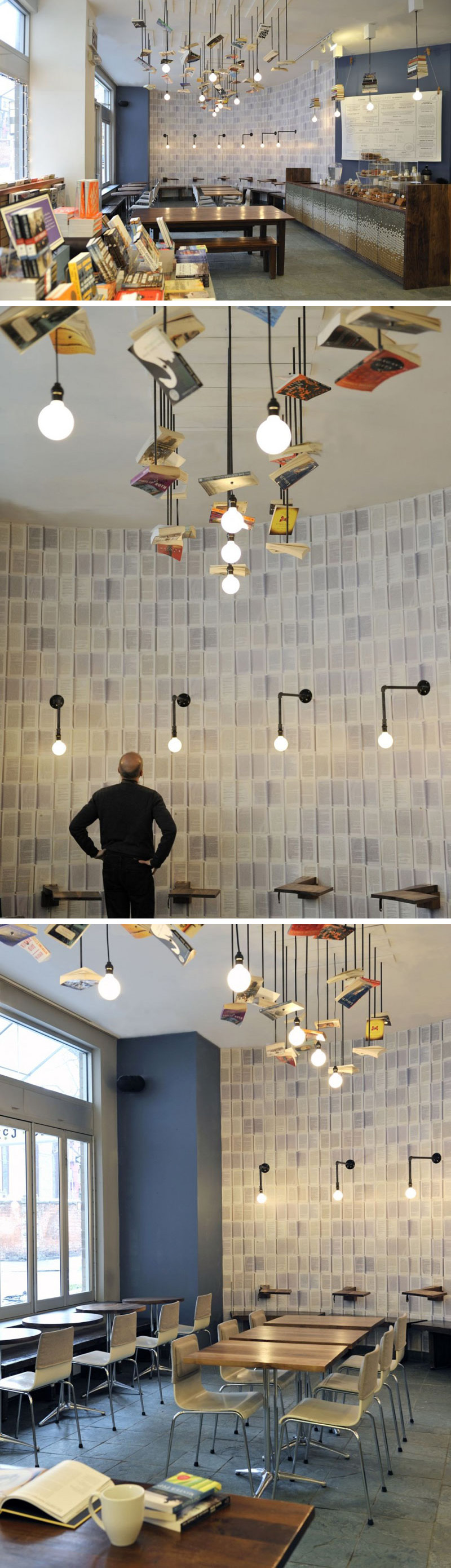 This modern cafe is attached to the McNally Jackson Bookstore and features wallpaper made from open spined books and a light installation with hanging books sprinkled throughout it.