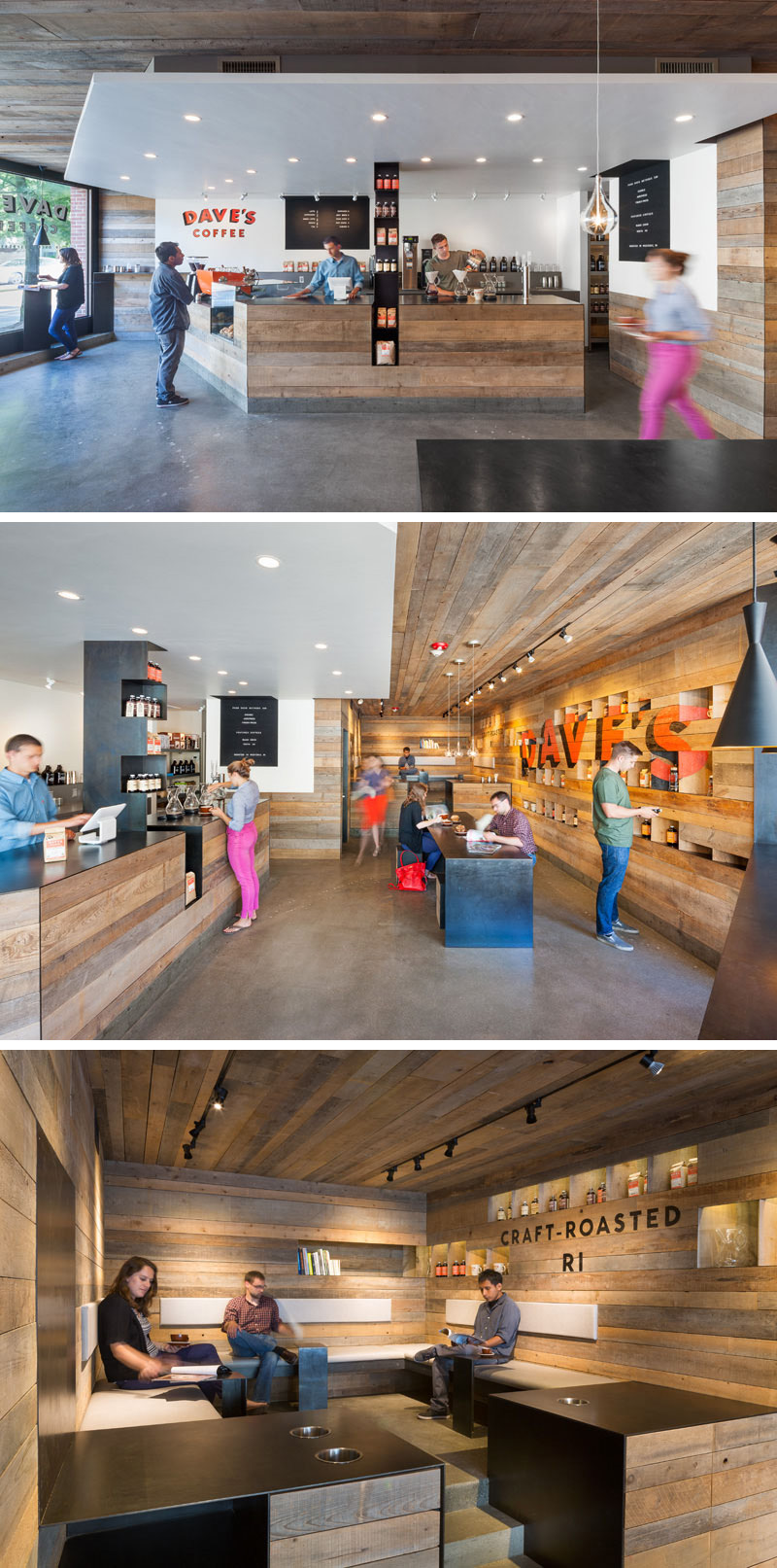 3six0 Architecture designed Dave's Coffee, a modern espresso bar and coffee shop that features aged cedar boards on the walls and ceilings.