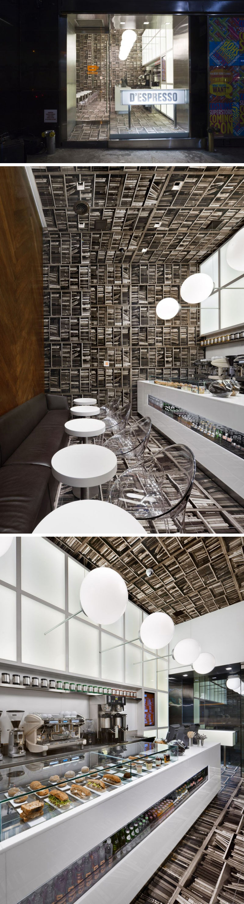 Nema Workshop designed this small modern espresso cafe in New York City to look like a library flipped on it's side - with herringbone wood walls, wallpaper on the floor, ceiling, and far wall, and light fixtures sticking out from the wall above the bar.