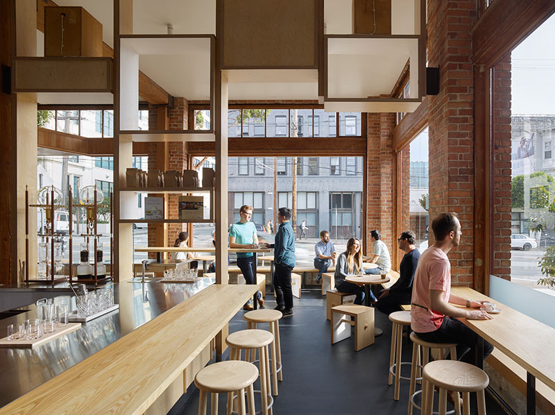 The design of this modern cafe is a fusion of past and present with the industrious building, and minimally decorated interior, making it the perfect place to grab a cup of coffee.