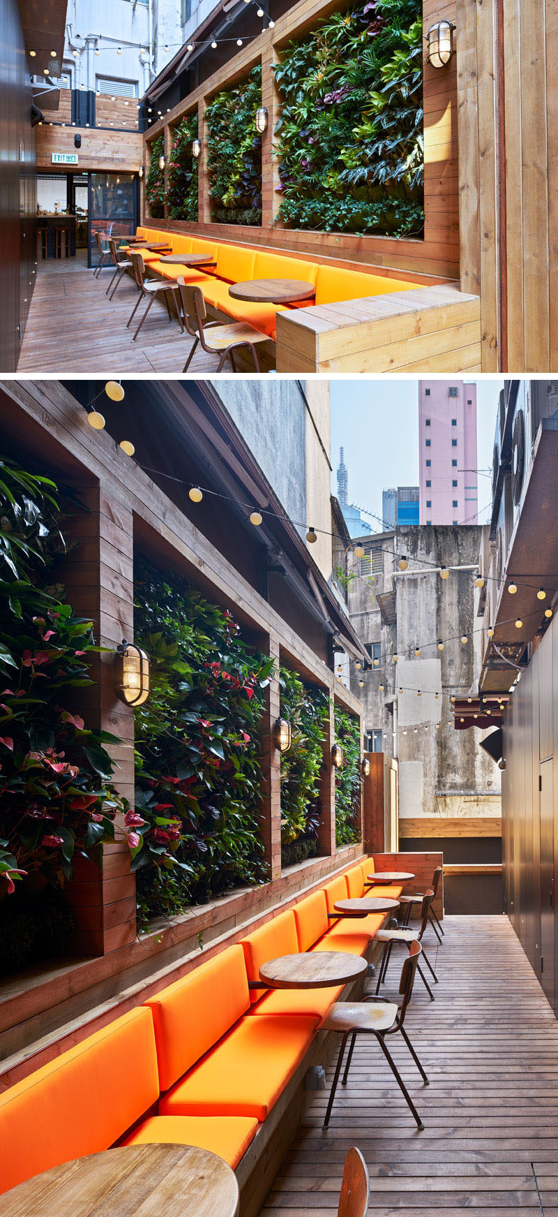 This modern coffee shop has an outdoor patio area with a living green wall and a zigzag string of lights above the seating area add a whimsical touch.