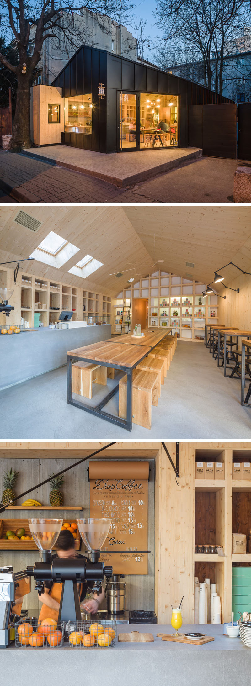 This modern cafe and juice bar features simple wood, steel, and concrete interiors that showcases their products and keeps the space bright and welcoming.