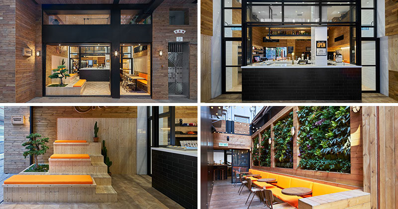 Dual-toned pine timber, plants, antique industrial factory lights, and modern decoration throughout make this modern coffee shop a vibrant addition to the neighborhood.