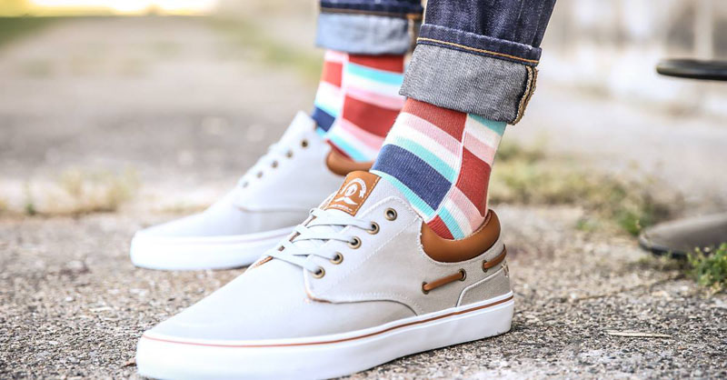 Wear these modern socks with brightly colored blocks and get told that your outfit totally rocks.
