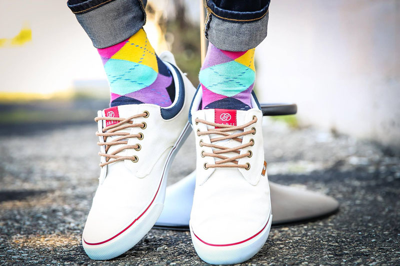 These modern, brightly colored socks have an argyle pattern and make a loud statement no matter what you pair them with.