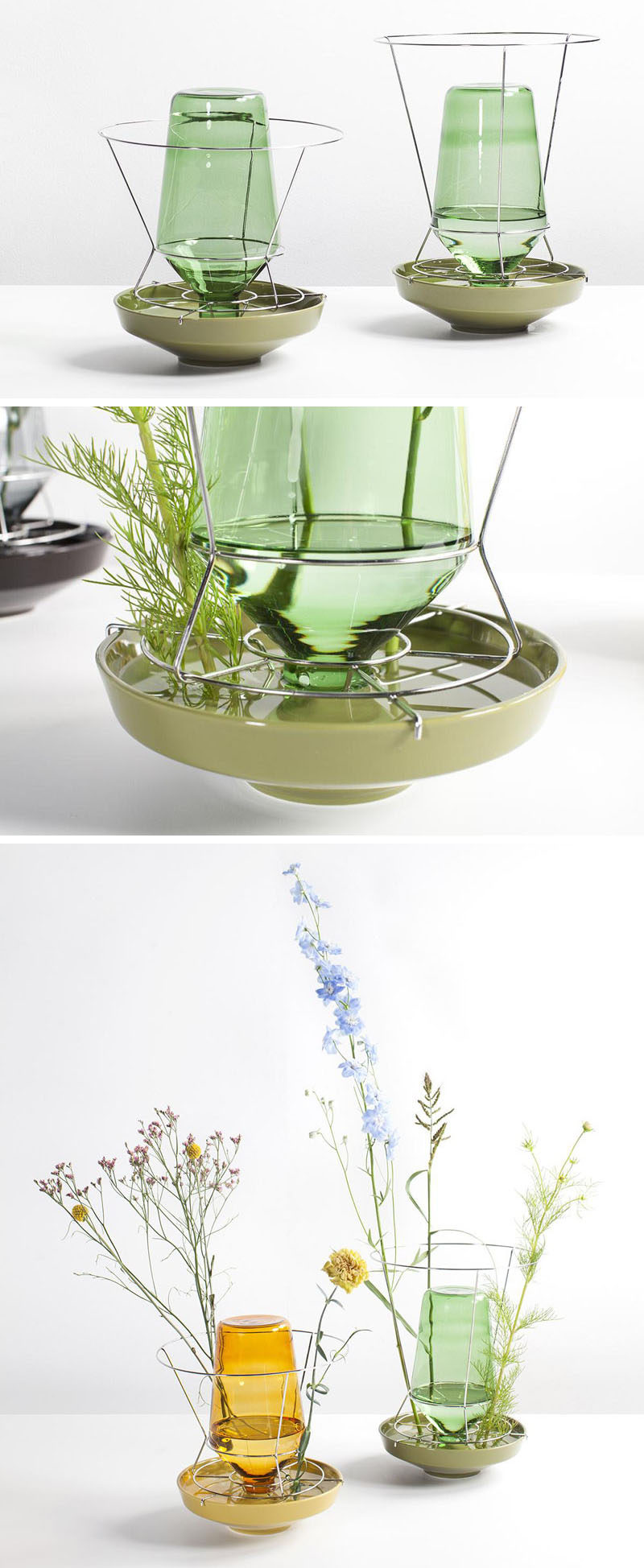 Rotterdam-based designer Chris Kabel has created a collection of contemporary glass, metal and ceramic vases that show off the stems of the flowers, instead of hiding them away.