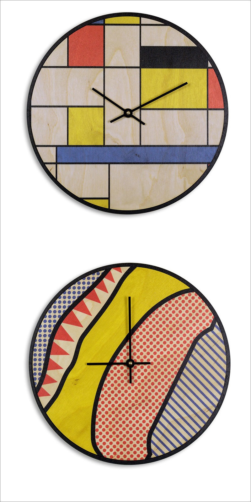 The fun colors and patterns on these Mondrian-inspired and pop art-inspired clocks make them a fun addition to any room in a modern home. #ModernWoodClock #WallClock #ModernDecor #ModernClock