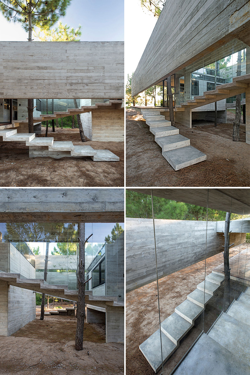 A set of simple concrete stairs leads you to the first level of this modern house, while a second set of stairs takes you to the upper level, home to the bedrooms.