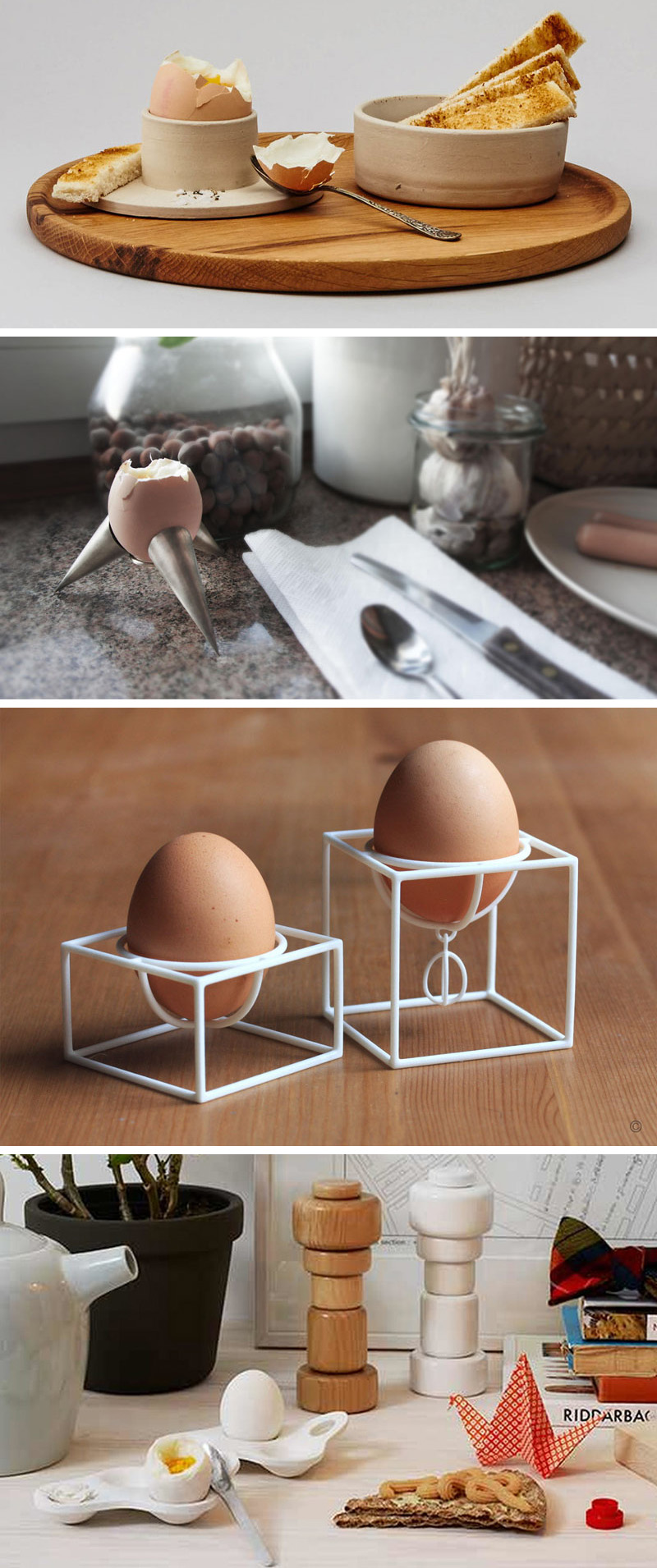If you're looking for stylish way to dress up your eggs in the morning, here's a collection of 13 modern egg cups to inspire you.