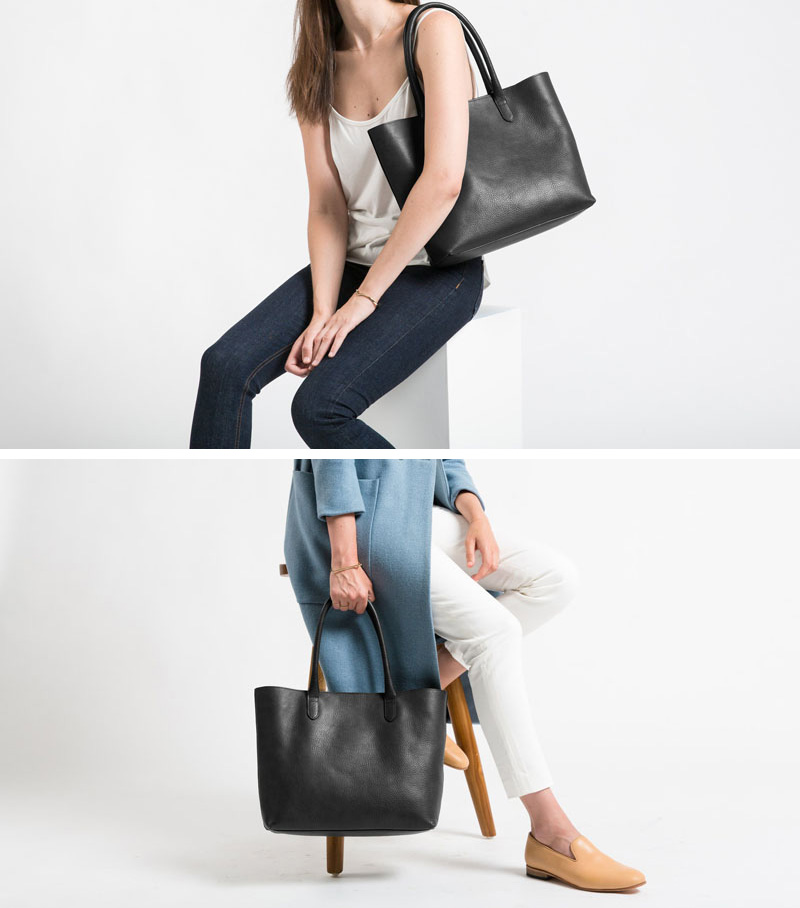 This modern black leather tote is the perfect size to carry around with you all day.
