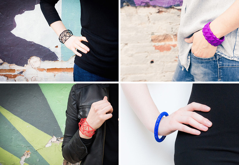 These modern geometric bracelets are 3D printed using nylon and plastic as the main materials.