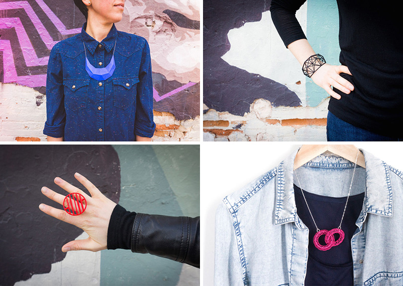These modern jewelry pieces are 3D printed using nylon and plastic as the main materials.