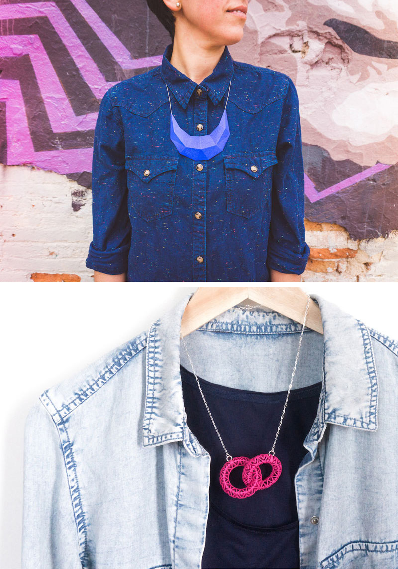 These modern necklaces are blue and pink and are 3D printed using nylon and plastic as the main materials.