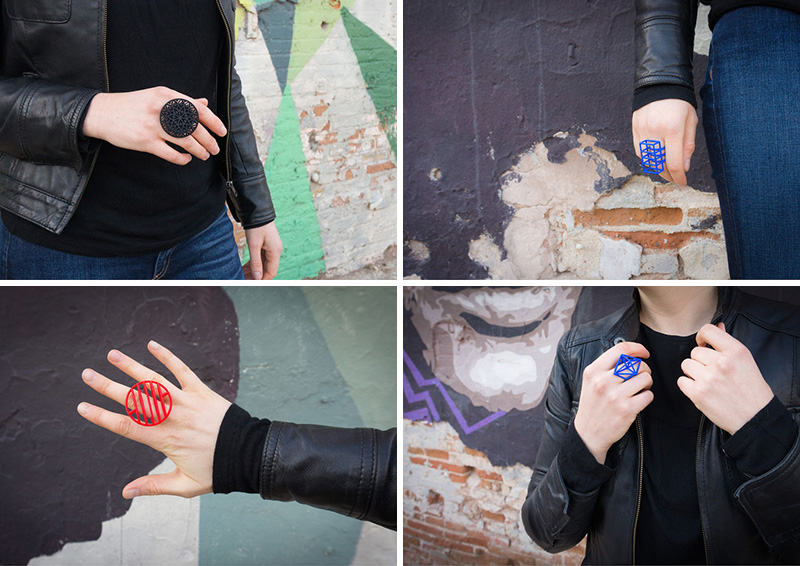These modern geometric rings are 3D printed using nylon and plastic as the main materials.