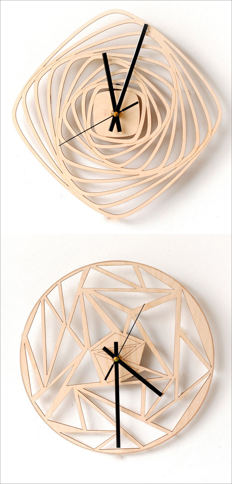 These intricately cut modern wood wall clocks feature a geometric look with clean lines and unique patterns that mix angles and smooth curves.