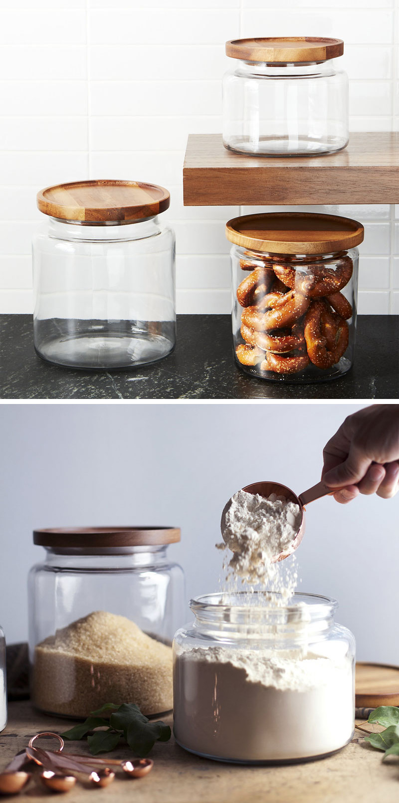 With a gorgeous acacia wood lid to keep food fresh, these modern clear glass jars make it easy to see all of the delectable snacks inside.