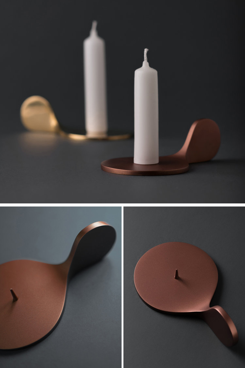 These modern gold and bronze metal candle holders are minimalist in their design and easy to use.