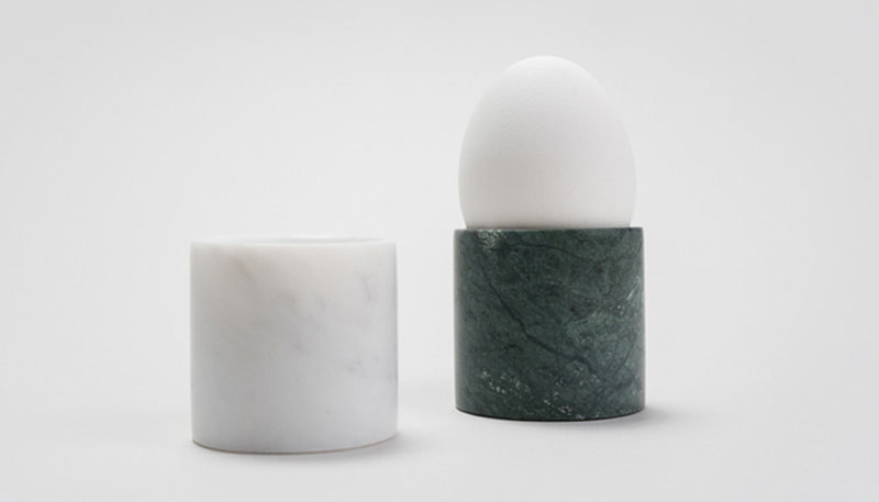 These modern egg cups are carved from solid marble making them perfect for eggs that require a throne rather than a cup.