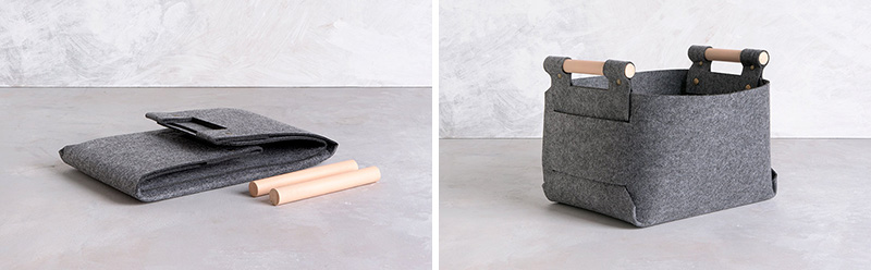 These modern grey baskets are cut from a single piece of felt and shipped flat, with the snaps pre-attached to make assembly easier.