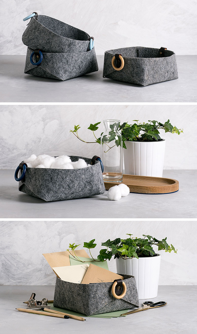 These small and modern grey felt baskets can be used like catch-alls at the front door, or as small storage vessels in the bedroom.