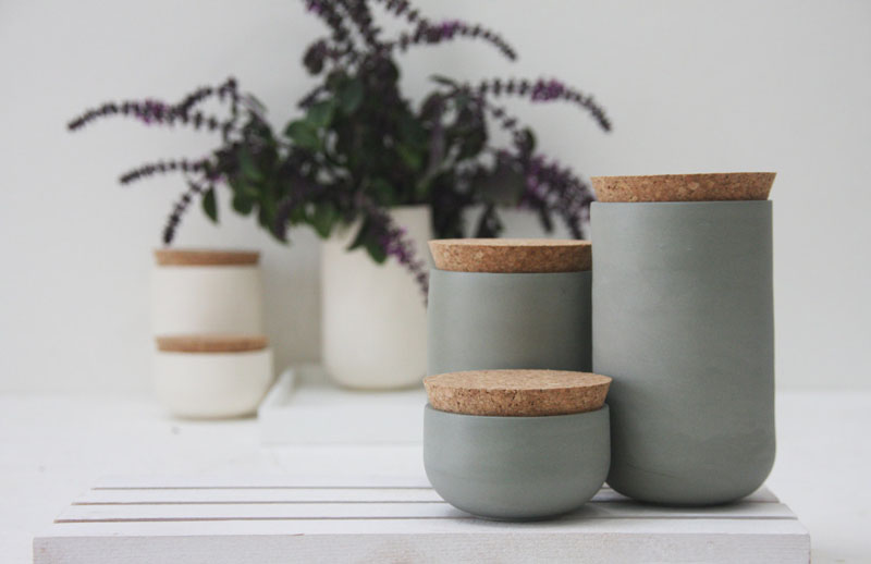 Whether for flour, sugar, or spices this modern grey ceramic set has three differently sized jars to store your goods. #PantryIdeas #StorageIdeas #KitchenStorage #KitchenJars #ModernJar #ModernCanister #PantryJars