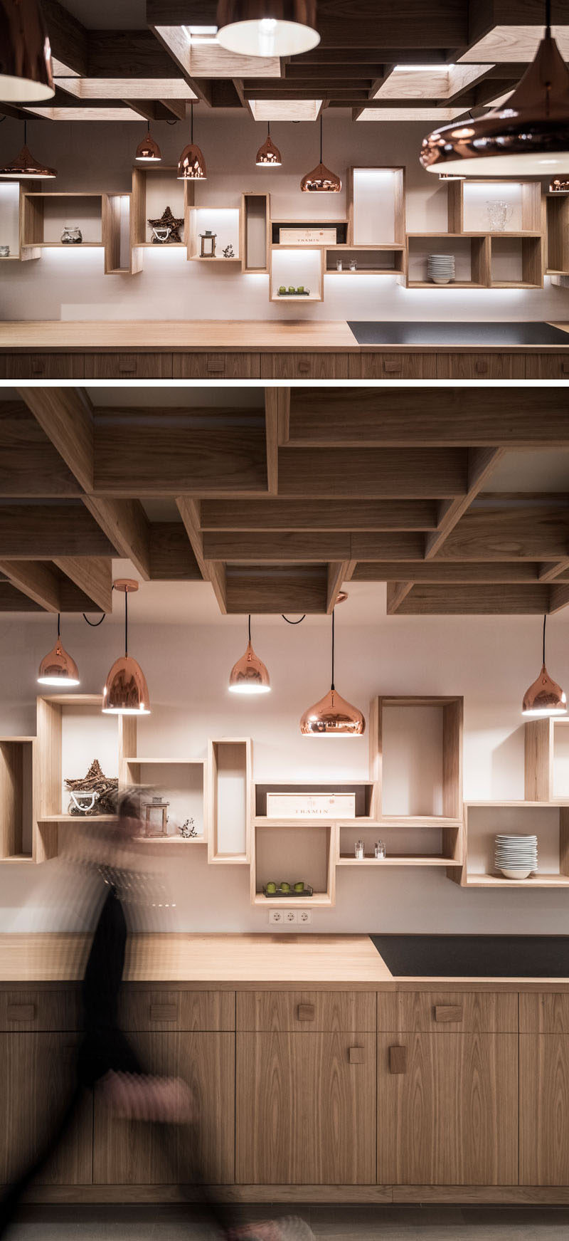 Floating, wood boxes with hidden lighting are attached to the walls and ceiling in this casual restaurant space, while different shaped bronze light fixtures add a metallic touch.
