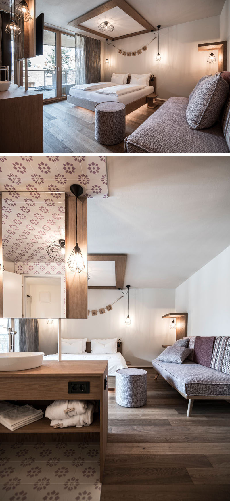 The mauve sofa faces the balcony in this modern hotel room, and matches the color of the floral patterned tiles in the washroom area. Geometric shaped light fixtures, and a glowing LED bed brighten up the room even more.