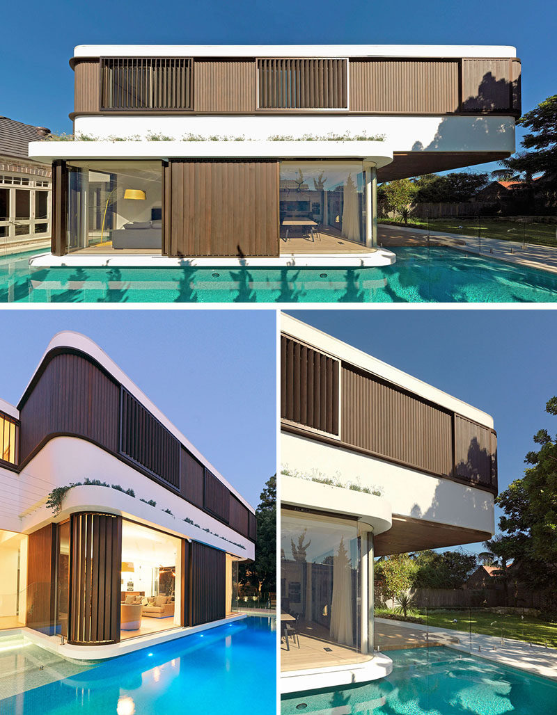 Swimming Pool Extension : A modern extension with cantilever was added to this