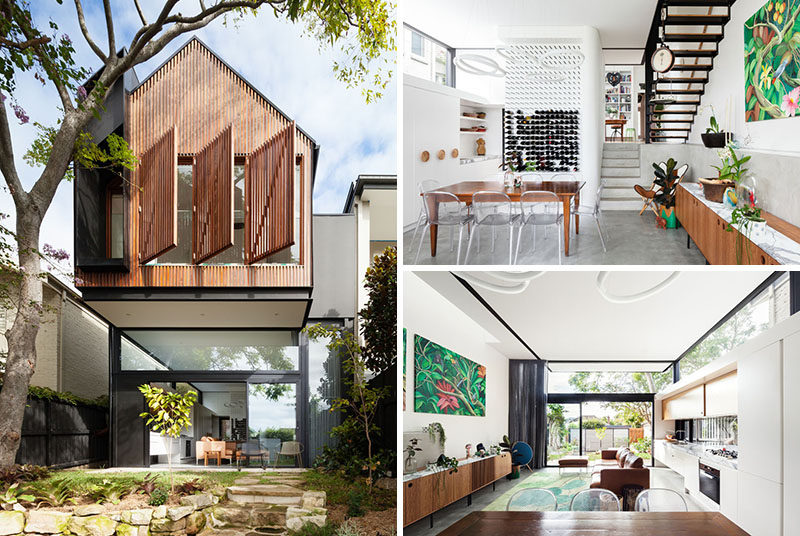 This House In Australia Received A Cantilevered Extension With Wood Window Shutters